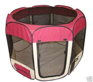 Burgundy Pet Dog Cat Tent Puppy Playpen Exercise Pen L 814836013680