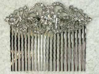 CLEAR SWAROVSKI CRYSTAL HAIR COMB 4 BRIDAL WEDDING L56