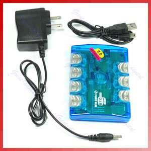 Multi Color 7 Port LED USB 2.0 Hub + AC Power Adapter
