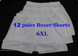 12 pairs Mens BOXER SHORTS UNDERWEAR White New size 6XL