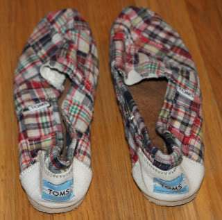 TOMS Plaid Red, White, Blue, Green Yellow Classic Canvas Slip On Flats