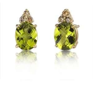 14 Karat Yellow Gold 3.75 carats Oval Checkerboard Cut Peridot Diamond