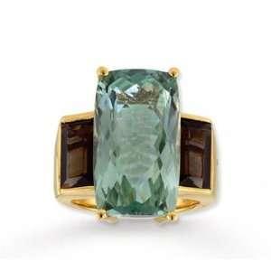 14k Yellow Gold Green Amethyst Smokey Quartz Ring Jewelry