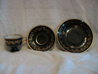 Echt Kobalt Fine China Teacup & 2 Saucer Set German Lichte Blue Gold