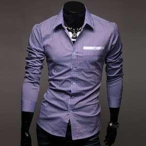 2012 New Mens Luxury Casual Stripes Slim Fit Stylish Dress Shirts 2