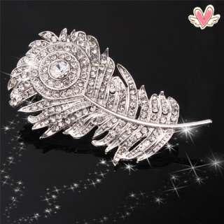 New Charming Beautiful White Feather Rhinestone Brooch Pin Wedding