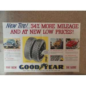 , Vintage 40s 2 full pages center fold print ad (greatest tire value