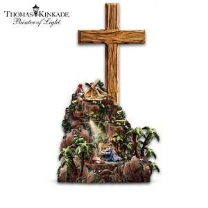 Thomas Kinkade Hand Carved Olive Wood Cross Sculpture