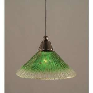Pendant with 10 Kiwi Green Crystal Glass Shade Finish Black Copper