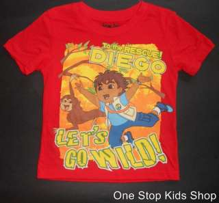 GO DIEGO GO Boys 2T 3T 4T 5T Short Sleeve SHIRT Top NICKELODEON