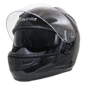 HAWK Glossy Black Dual Visor Motorcycle Helmet Sz M