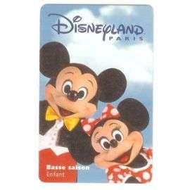 Billet Dentrée Disneyland Paris   09/01/1999   Basse Saison   Enfant