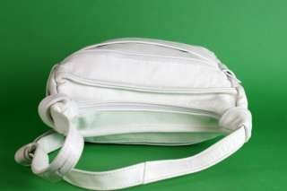 Vtg 80s Off White Leather Hobo Bag Purse Zip Top EXC
