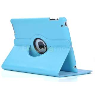 iPad 3/2 Black 360° Rotating Leather Magnetic Smart Cover Stand Case