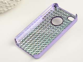 Purple Aluminum Bling Rhinestone Hard Case Cover For iPhone 4 4S
