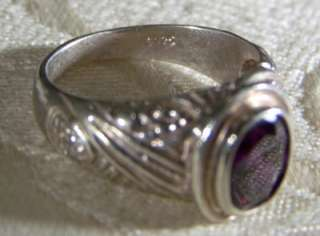 ANTIQUE STERLING SILVER HUGE OVAL AFRICAN AMETHYST FANCY RING