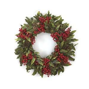 24 Red Berries Beautiful Christmas Time Wreath Door Decor: