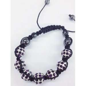 Purple Color Crystals Black Cord Beaded Shamballa Ball