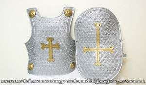 Child Costume Medieval Knight Shield Armor Gray