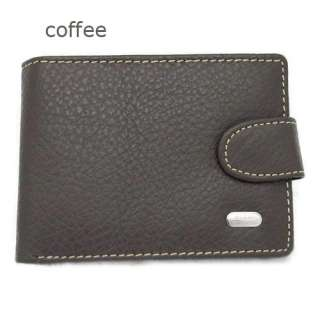 Mens Black Real Genuine Leather Bifold Clutch Wallet Coin Purse Dollar