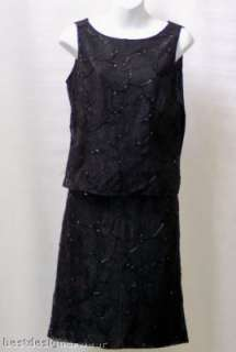 ANN TAYLOR Womens Skirt Suit Size 4 Black Beaded Lace New