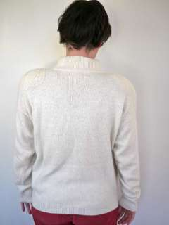 Vtg 80s Silk Angora Wool White Sequins Sprkle Sweater L