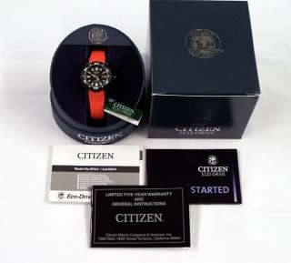 Citizen Watch ECO DRIVE Promaster Diver Orange Rubber EP6035 02E NEW