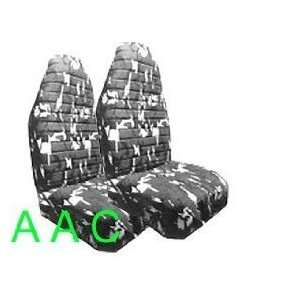 Camouflage Print Front Bucket Seat Cover   Black and White Automotive
