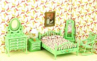 Dollhouse Bedroom Furniture Bed Dresser Chair Nighstand