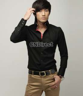 Fashion Korean Version Mens Slim Striped Casual Long sleeve Shirt 3