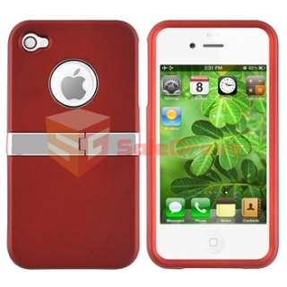 Red w/ Chrome Stand Hard CASE Cover+PRIVACY Screen FILTER for iPhone 4