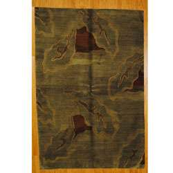 Hand knotted Olive Green/Burgundy Wool Rug (6 x 9)