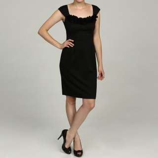 London Times Womens Black Ponte Ruffled Cap sleeve Dress