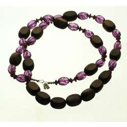 Wood and Acrylic Brown and Purple Long Beaded Necklace (U.S.A