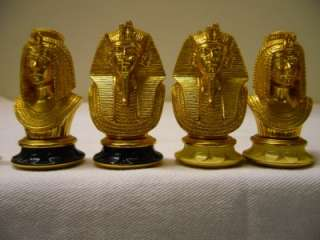 TRESURE OF TUTANKHAMUN CHESS SET 22 kt GOLD PLATED VERY NICE
