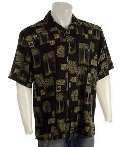 Joe Marlin Mens Palm Tree Print Silk Sport Shirt