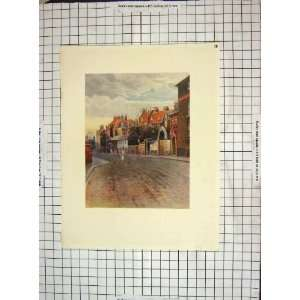 C1930 Colour Print Street Scene Houses People Home & Kitchen