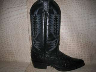 New Mens Embossed Ostrich Leather Black Boots