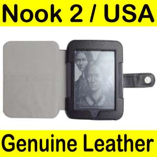 Barnes Noble Nook 2 2nd Genuine Leather Case Cover BK