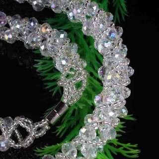 AB White Crystal Glass Beads Bracelet Necklace 1SET