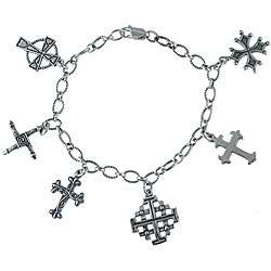 Southwest Moon Sterling Silver Cross Charm Bracelet