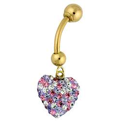 Gold Pink, Purple and White Crystal Heart Belly Ring