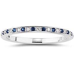 14k White Gold Blue Sapphire and Diamond Band