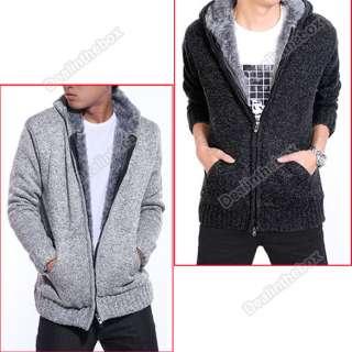 Fashion Men Warm Knit Sweater Hooded Wool Jumper Jacket Two Colors