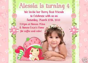Personalized Photo Strawberry Shortcake Birthday Invite