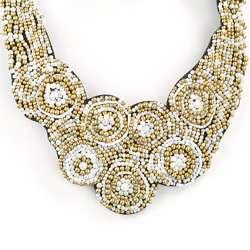 Black Felt Multi colored Bead Bib Necklace