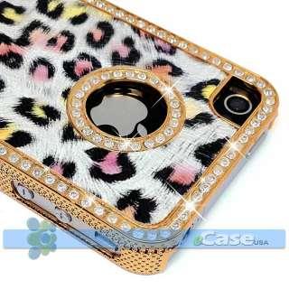 Cheetah Leopard Pattern Diamond Rhinestone Bling Gold Case iPhone 4 4S