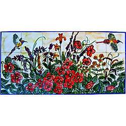 Mosaic Floral Garden Birds 18 tile Ceramic Wall Mural Art