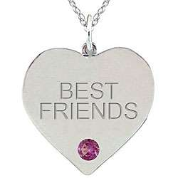 10k Gold June Birthstone Rhodolite BEST FRIENDS Heart Necklace