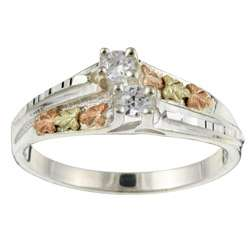 Sterling Silver and Black Hills Gold Cubic Zirconia Ring